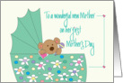 Mother's Day for New Mother, Bear in Floral Bassinette card