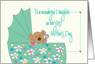 First Mother's Day for Daughter, Bear in Floral Bassinette card