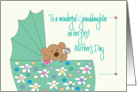 First Mother's Day for Granddaughter, Bear in Floral Bassinette card