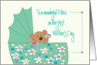 First Mother's Day for Niece, Bear in Floral Bassinette card