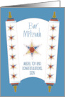 Bar Mitzvah for Son, Star of David on Blue and Handlettering card