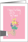 Birthday for Fiancée, Hand presenting Floral Bouquet on Pink card