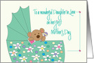 First Mother's Day for Daughter-in-Law, Bear in Bassinette card