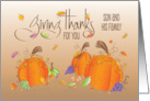Thanksgiving Blessings Son & Family, Pumpkins and Fall Leaves card