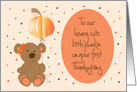 First Thanksgiving for Girl, Beary Cute Punkin with Pumpkin Balloon card