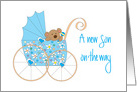 New Baby Son on the Way, Bear in Blue Floral Stroller card