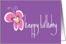 Happy Birthday with Brilliantly Colored Butterfly card
