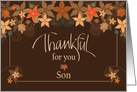 Hand Lettered Thanksgiving for Son, Thankful for You with Fall Leaves card