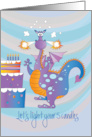 Birthday for 5 Year Old, Dragon Lighing 5 Birthday Cake Candles card