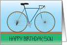 Happy Birthday for Son with Bicycle, Blue and Green card
