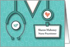 Graduation Congratulations to Nurse Practitioner, Custom Name Tag card