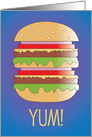 Invitation for 4th of July Picnic, Burger Stacked High, Burger TIme card