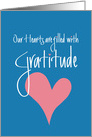 Our Hearts are filled with Gratitude, Blue with Pink Heart card