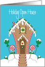 Invitation to Holiday Open House, with Gingerbread House card