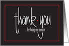Hand Lettered Thank You for Being My Mentor, with red accents card
