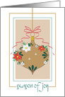 Golden Christmas Ornament, Decorated with Flowers and Red Bow card