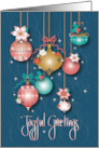 Hand Lettered Holiday Joyful Greetings Decorated Ornaments card