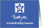 Thank you to Police Officer Being Coronavirus Hero with Star and Heart card