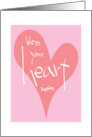 Hand Lettered Pink Heart Bless your Heart for Mom card