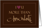 Hand Lettered I love you more than Chocolate, with Heart card