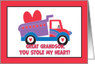 Valentine's Day for Great Grandson, You Stole my Heart Truck card
