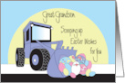 Easter for Great Grandson, Front Loader Scooping Up Eggs & Bunny card