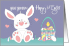 First Easter for Great Grandson, Bear in Floral Stroller & Bear Hugs card