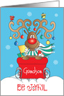 Christmas for Grandson, Be Joyful Reindeer with Antler Ornaments card