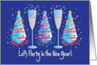 New Year's Eve Party Invitation, with Party Hats and Champagne card