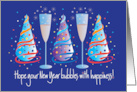 Hand Lettered New Year's Card, Party Hats & Champagne Glasses card