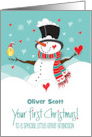 Great Grandson's First Christmas with Snowman and Heart with Bird card