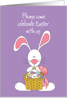 Invitation to Easter Celebration with bunny and egg basket card