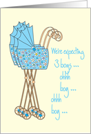 Announcement We're expecting baby boy triplets card