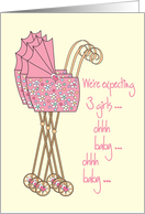 Announcement We're expecting baby girl triplets card