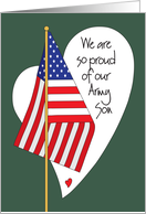 Birthday for Army Son, American Flag , Heart and Hand Lettering card