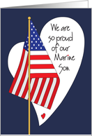 Birthday for Marine Son, American Flag, Heart and Hand Lettering card