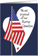 Birthday for Marine Grandson, American Flag and Heart card