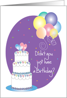 Belated Birthday, with Tiered Cake and Colorful Balloons card