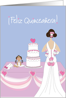 Age specific spanish birthday cards from greeting card universe feliz quinceaera birthday with gown cake high heels and doll card bookmarktalkfo Gallery