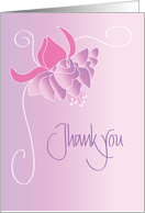 Hand Lettered Thank you with Beautiful Fuschia Flower card