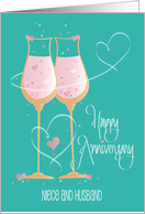 Anniversary for Niece and Husband, Teal Champagne glasses & Hearts card