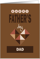 Hand Lettered Father's Day, Stacked Wording with Cubic Heart card
