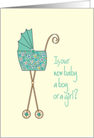 Invitation to Baby Gender Reveal Party with Stroller card