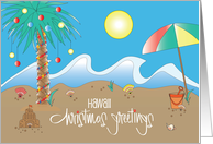 Christmas Greetings from Hawaii, with Decorated Palm Tree on Beach card
