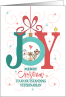 Christmas to Veterinarian, with Two Dogs, Cat & Bird in Joy Ornament card