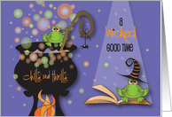Invitation for Halloween Party, Bubbling Cauldron and Bubbles card