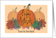 Hand Lettered Halloween Party Invitation with Pumpkin Trio & Leaves card