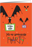 Halloween Party Invitation, Bats Carrying Invites & Twisted Lettering card