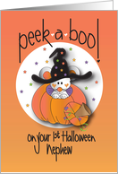 First Halloween Peek-a-Boo for Nephew, Mouse in Witch's Hat card