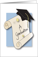 Graduation Congratulations for Father of Graduate, Diploma & Hat card